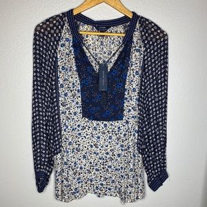 NWT Lucky Brand Blue Floral Top
